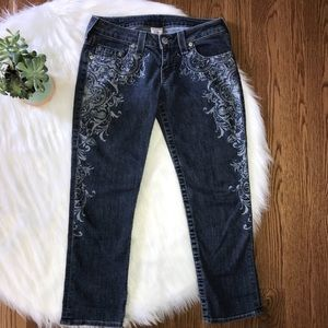 True Religion Printed Crop Ankle Jeans Size 28